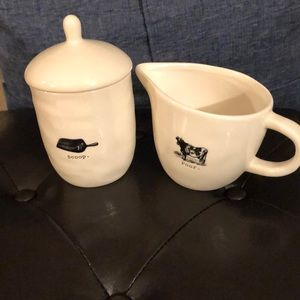 "Rae Dunn ""Scoop"" and ""Pour"" Cream/Sugar Set"
